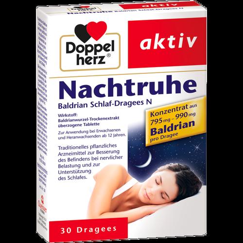 Verpackungsbild(Packshot) von DOPPELHERZ Nachtruhe Baldrian Schlaf-Dragees N
