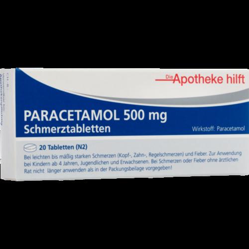 Verpackungsbild(Packshot) von PARACETAMOL 500 mg Die Apotheke hilft Tabletten