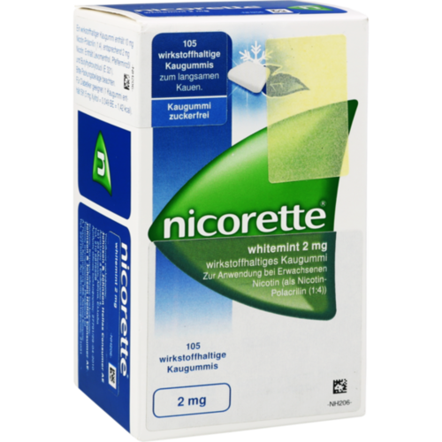 Verpackungsbild(Packshot) von NICORETTE Kaugummi 2 mg whitemint