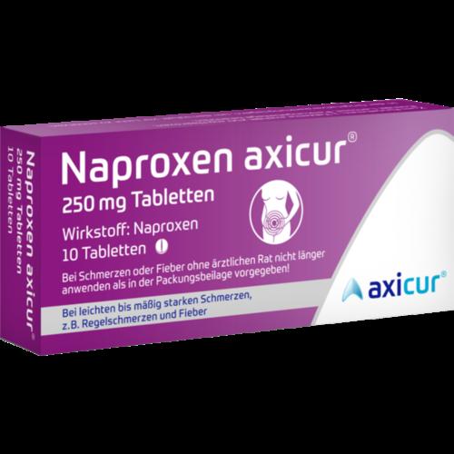 Verpackungsbild(Packshot) von NAPROXEN axicur 250 mg Tabletten