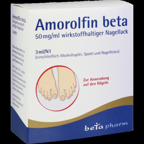 Verpackungsbild(Packshot) von AMOROLFIN beta 50 mg/ml wirkstoffhalt.Nagellack