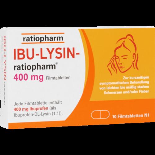 Verpackungsbild(Packshot) von IBU-LYSIN-ratiopharm 400 mg Filmtabletten