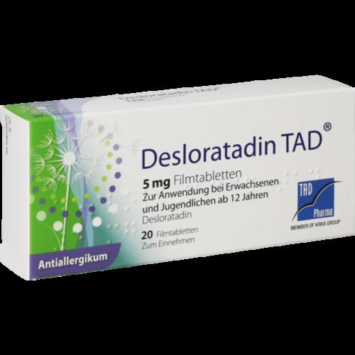 Verpackungsbild(Packshot) von DESLORATADIN TAD 5 mg Filmtabletten