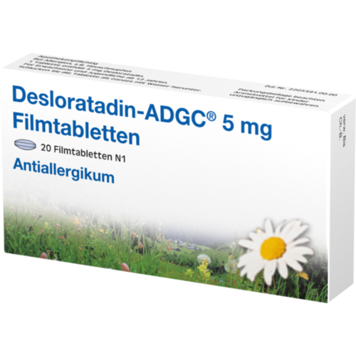 Verpackungsbild(Packshot) von DESLORATADIN-ADGC 5 mg Filmtabletten