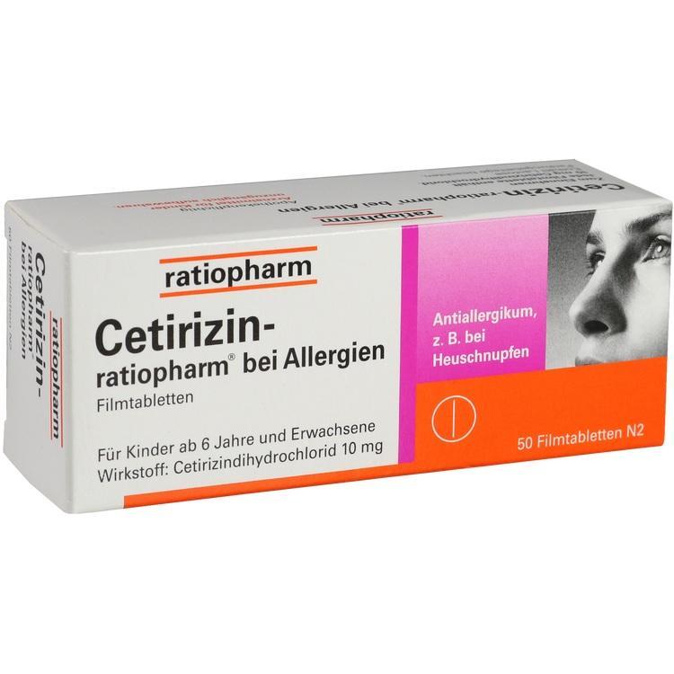 CETIRIZIN-ratiopharm bei Allergien 10 mg Filmtabl. 50 St