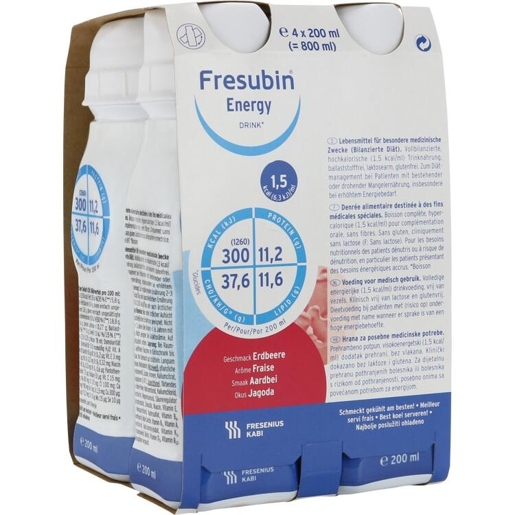 FRESUBIN ENERGY DRINK Erdbeere Trinkflasche 4X200 ml